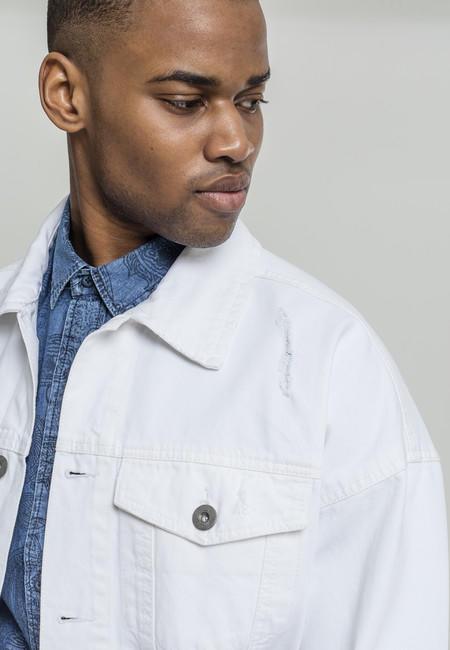 Urban Classics Ripped Denim Jacket white