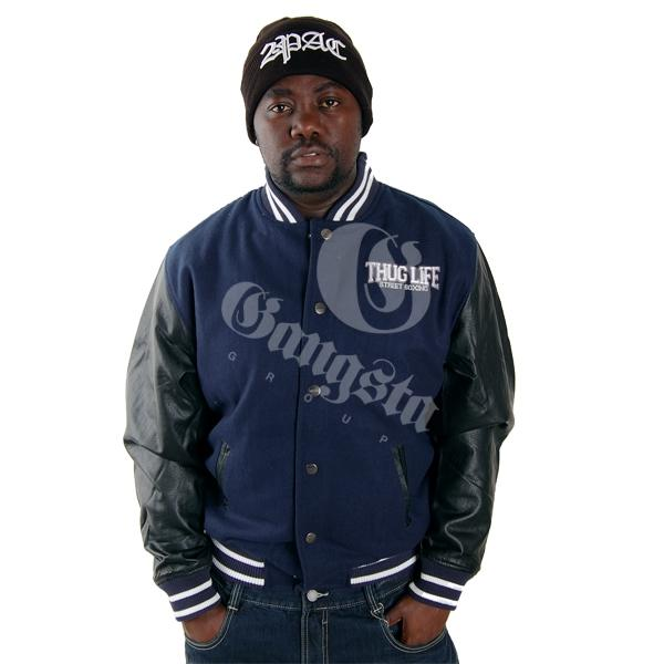 Thug Life Street Fighting College Jacket Navy