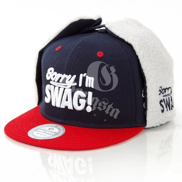 22702fff279 ... GangstaGroup Sorry I`m Swag! Dog Ear Winter Cap Navy Red ...