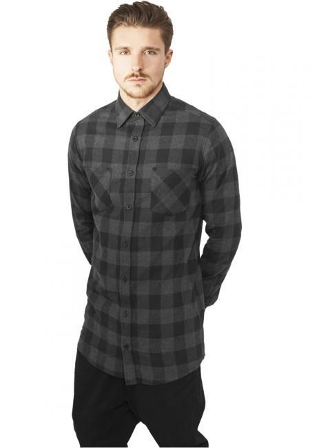 Urban Classics Long Checked Flanell Shirt blk/cha
