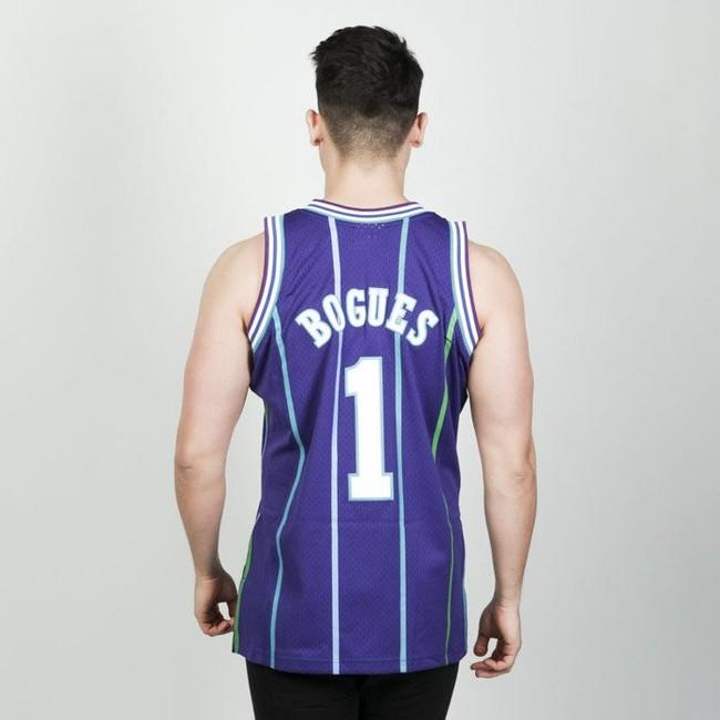 check out 5d377 cd0cf Mitchell & Ness Charlotte Hornets #1 Muggsy Bogues purple ...