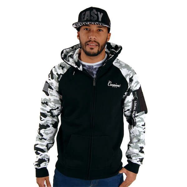 Cocaine Life Local Dealer Zip Hoodie White Camo