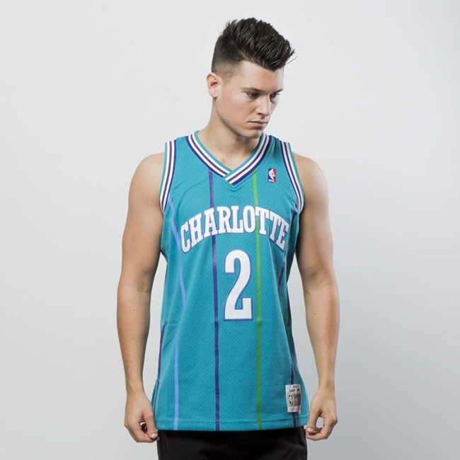 new products 56527 42cc5 Mitchell & Ness Charlotte Hornets #2 Larry Johnson blue ...