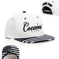 Cocaine Life Stars & Stripes White Black Snapback