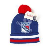 Mitchell & Ness NHL Jersey Stripe Cuff W Pom NY Rangers Beanie MN-NHL-KC84Z