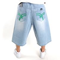 Raw Blue Belt Denim Short Light Green
