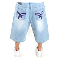 Raw Blue Belt Denim Short Light Purple