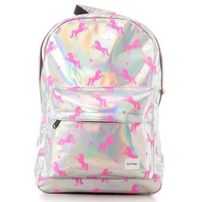 Spiral Silver - Pink Unicorns Backpack Bag