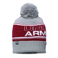 Under Armour Pom Beanie Grey Burgundy