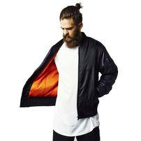 Urban Classics Basic Bomber Leather Imitation Sleeve Jacket blk/blk