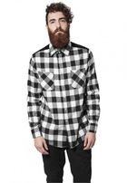 Urban Classics Cord Patched Checked Flanell Shirt blk/wht