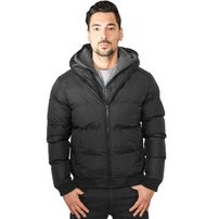 Urban Classics Double Hooded Jacket Black Charcoal