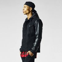 Urban Classics Hooded Denim Leather Imitation Jacket blk/blk