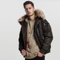 Urban Classics Hooded Heavy Fake Fur Bomber Jacket darkolive