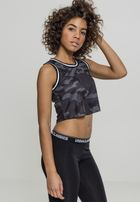 Urban Classics Ladies Cropped Mesh Top darkcamo/black/white
