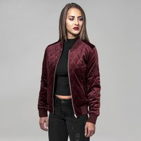 Urban Classics Ladies Diamond Quilt Velvet Jacket burgundy