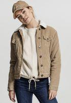 Urban Classics Ladies Sherpa Cordury Jacket sand/offwhite