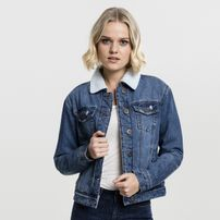 Urban Classics Ladies Sherpa Denim Jacket blue washed
