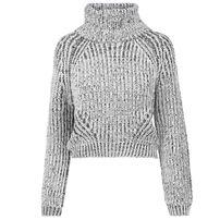 Urban Classics Ladies Short Turtleneck Sweater offwhite melange