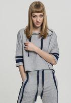 Urban Classics Ladies Taped Short Sleeve Hoody grey/navy