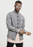 Urban Classics Low Collar Denim Shirt grey wash