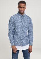Urban Classics Printed Flower Denim Shirt light blue wash