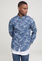 Urban Classics Printed Palm Denim Shirt light blue wash