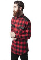 Urban Classics Side Zip Leather Shoulder Flanell Shirt blk/red