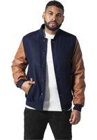 Urban Classics Wool Leather Button Jacket navy/cognac