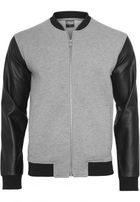 Urban Classics Zipped Leather Imitation Sleeve Jacket gry/blk