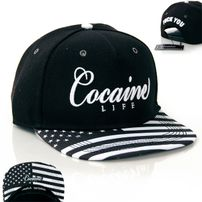 Cocaine Life Stars & Stripes Black White Snapback