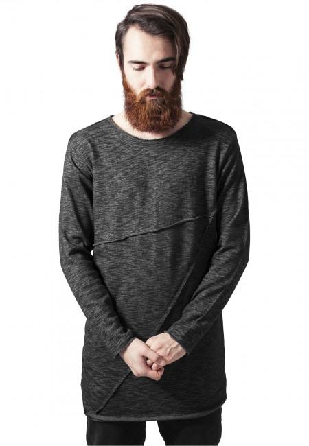 Fashion Long Terry Crew black melange - XXL