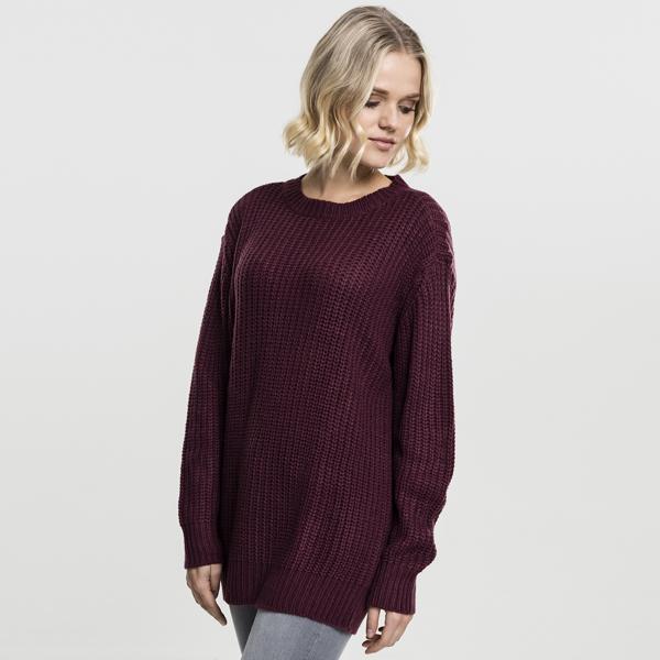 urban classics ladies basic crew sweater cherry online hip hop fashion store. Black Bedroom Furniture Sets. Home Design Ideas