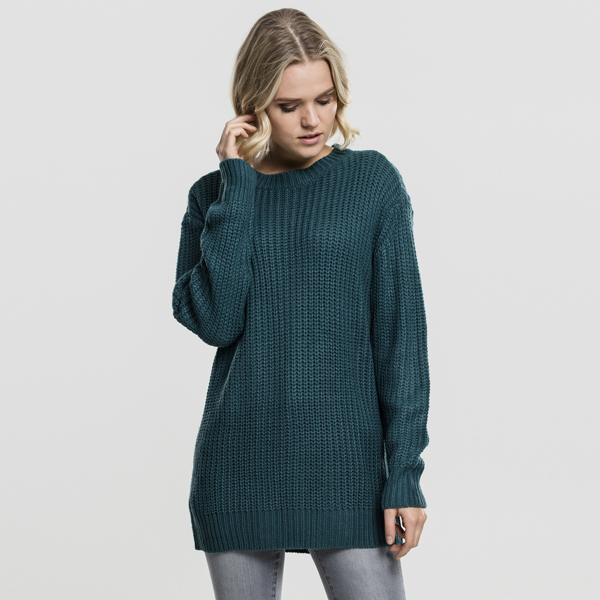 urban classics ladies basic crew sweater teal online hip hop fashion store. Black Bedroom Furniture Sets. Home Design Ideas