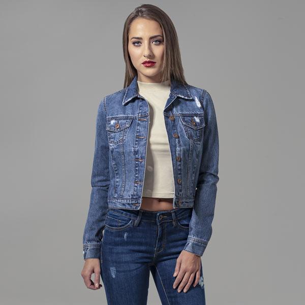 Ladies Denim Jacket ocean blue - XS