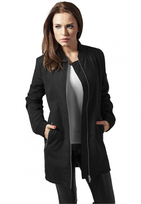 urban classics ladies peached long bomber jacket black. Black Bedroom Furniture Sets. Home Design Ideas