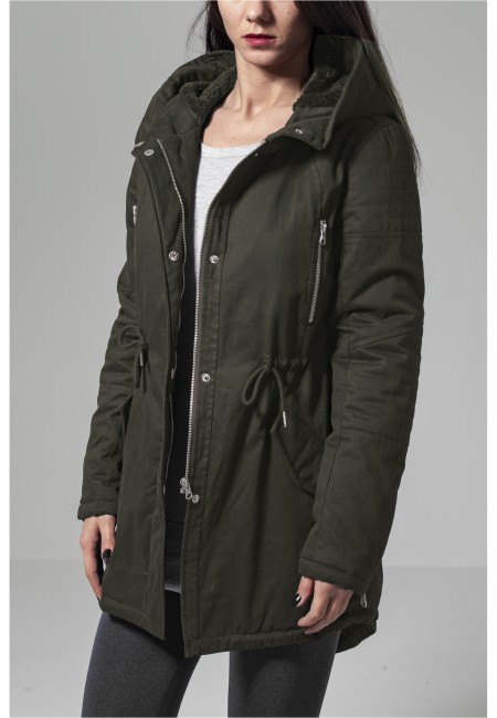 Ladies Sherpa Lined Cotton Parka olive - XS