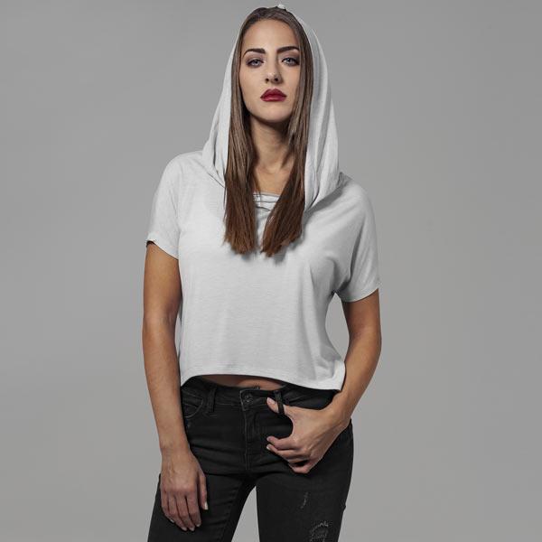 Ladies Short Viscose Hoody grey - XS